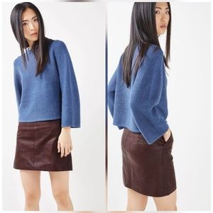 Topshop Burgundy Faux Leather Pencil Skirt
